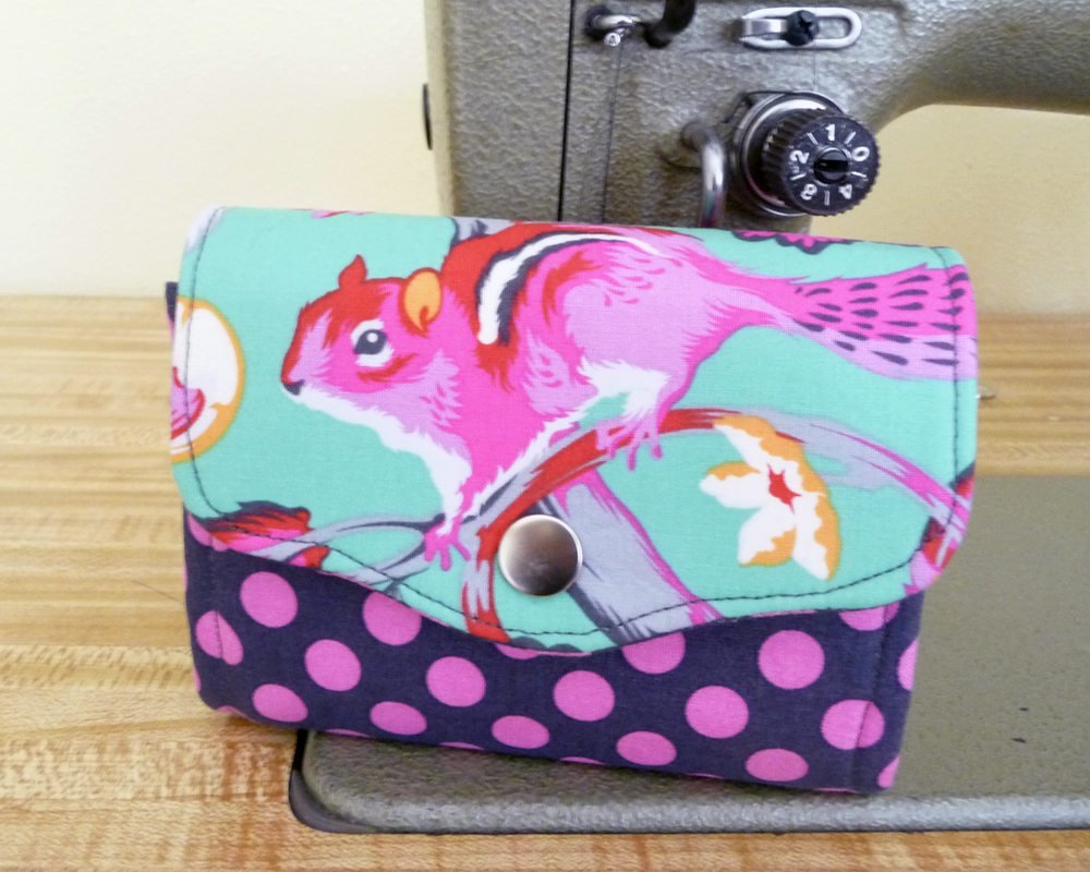 Mini Necessary Clutch Wallet (NCW), Bright Chipmunk Fabric, Multiple Card Slots