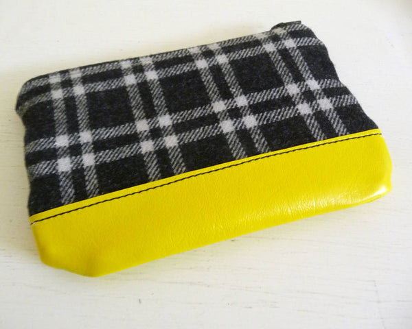 Black Plaid and Yellow Vinyl Zippered Pouch