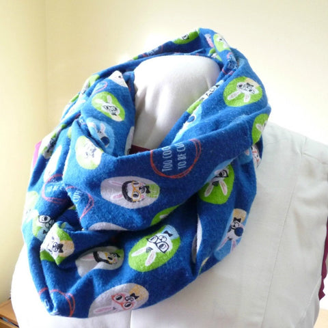 Flannel Infinty Scarf with Hidden Zip Pocket, Hipster Bunnies