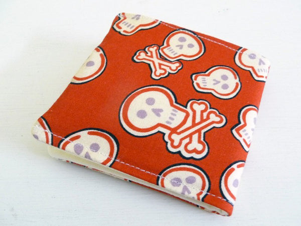 Skull Print Bifold Wallet, Red and Cream Sugar Skulls, Day of the Dead
