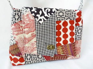 Red, Black, and Cream Patchwork Shoulder Bag Purse