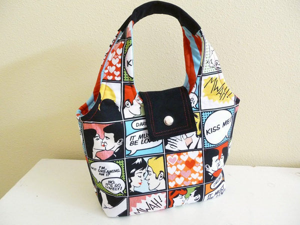 Kiss Me Comic Handbag, Novelty Print Cotton Purse