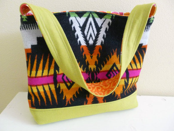 Tribal Wool Tote Bag, Bright Bold Colorful Shoulder Bag