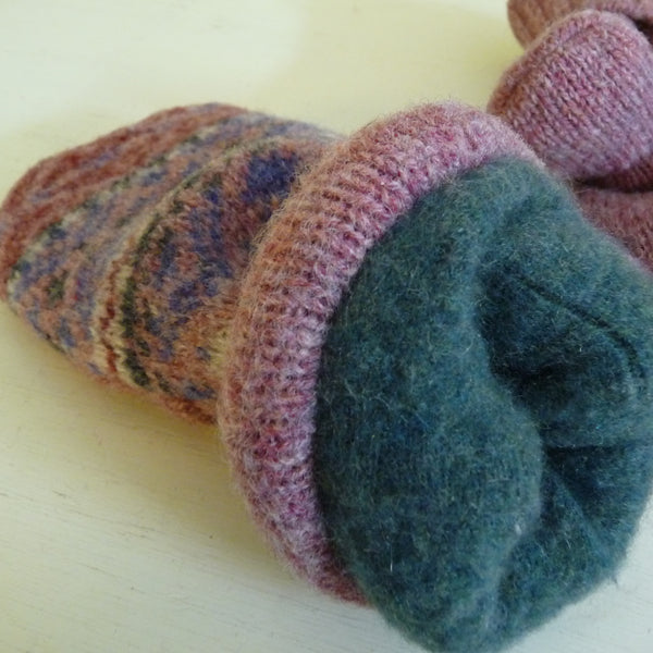 Pink Fair Isle Style Sweater Mittens