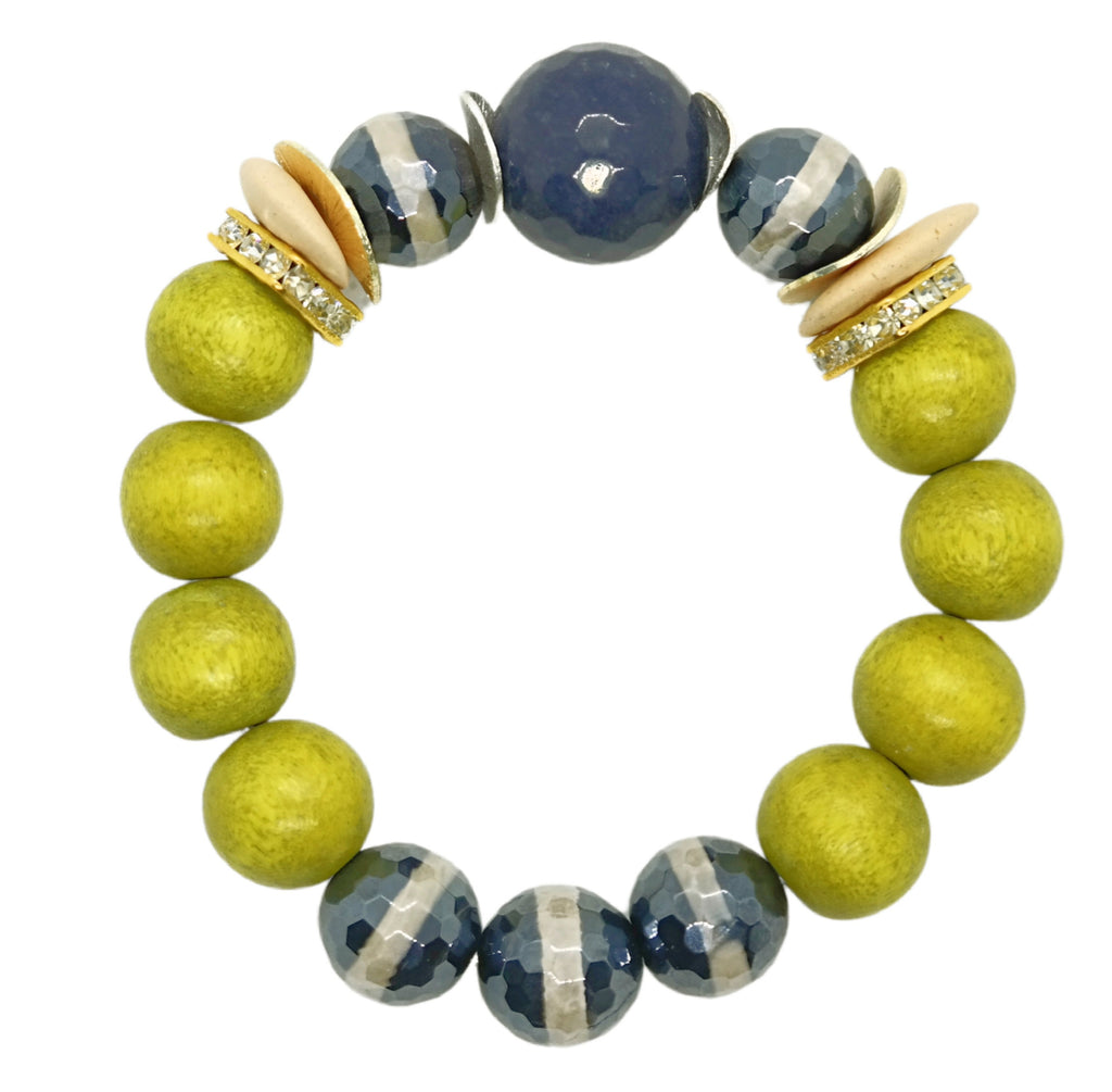 Navy & Lime One of a Kind Bracelet