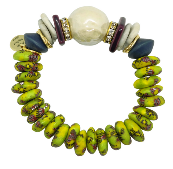 Lime Krobo One of a Kind Bracelet