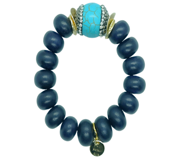 Turquoise Pave Midnight One of a Kind Bracelet