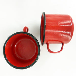 red enamel cups large