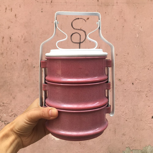 enamel tiffin eco lunchbox pink purple three layer