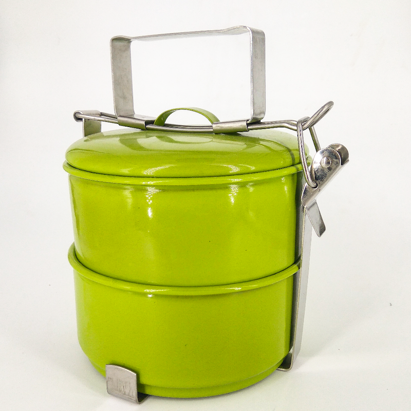 enamel tiffin lunchbox two layers green