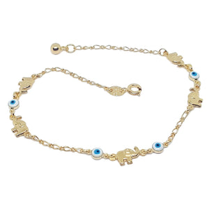 Elephant & Evil Eye Anklet Gold Filled (2 colors available)