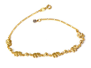 Elephants Anklet, Gold Filled, 10""