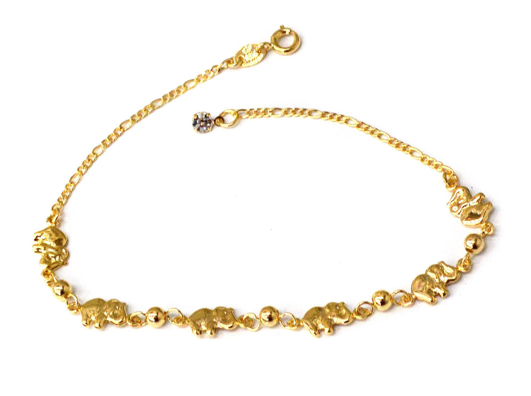 Elephants Anklet, Gold Filled, 10
