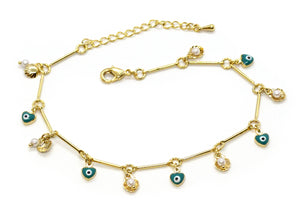 "Shells Pearls & Evil Eye Charms Anklet, 10"" Gold Plated"