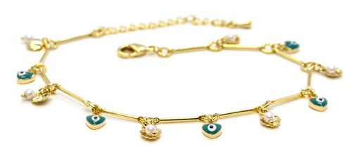Shells Pearls & Evil Eye Charms Anklet, 10