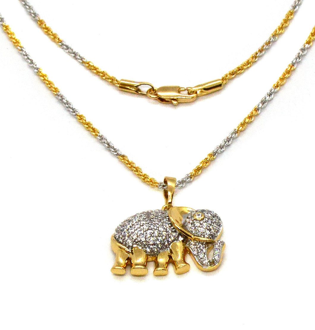 Elephant Pendant Necklace, Two Tone Gold Overlay Cubic Zirconia, 18