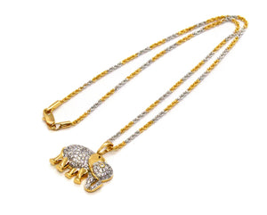 "Elephant Pendant Necklace, Two Tone Gold Overlay Cubic Zirconia, 18"" Chain"