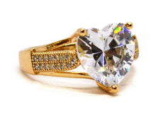 Load image into Gallery viewer, Heart Ring Gold Plated CZ (Clear or Blue Stone)