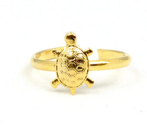 Turtle Toe Ring Gold Overlay