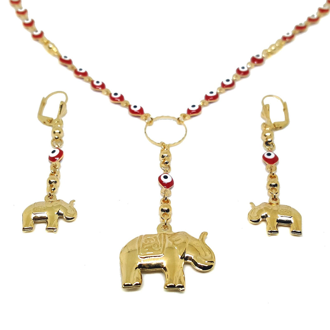 Elephant & Evil Eye Pendant Necklace & Earrings Set Gold Overlay (2 colors available)