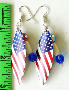 American Flag Willow Leaf Blade Earrings