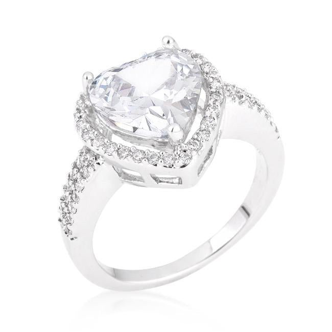 Valentine Heart Ring Rhodium Plated Clear Cubic Zirconia Polished Silvertone