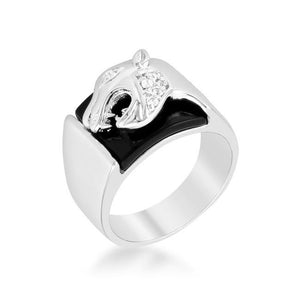 Onyx Panther Men's Ring CZ Silvertone Rhodium