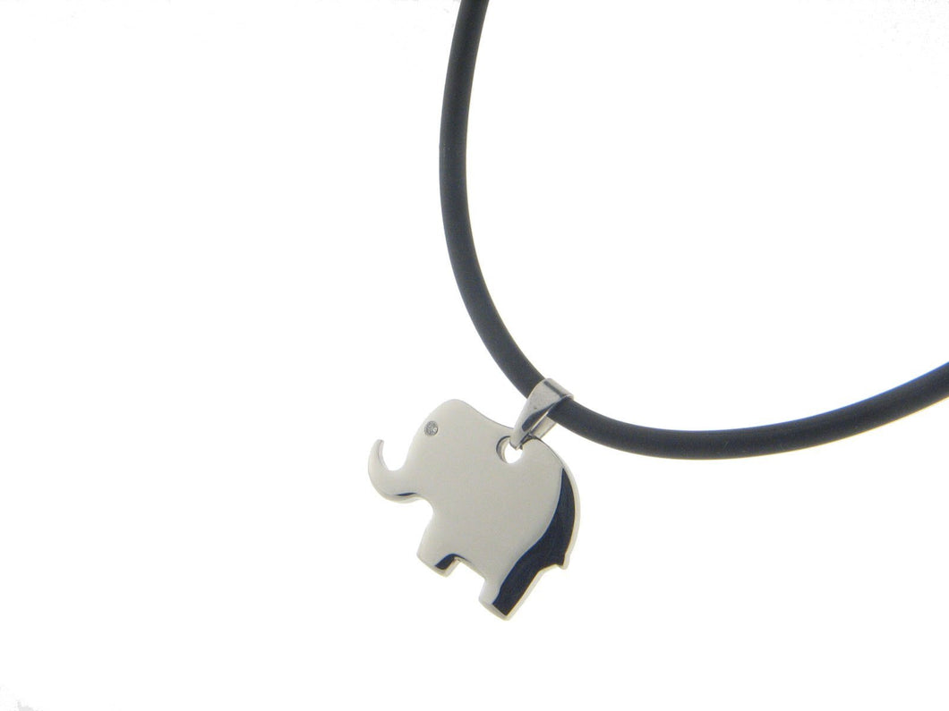 Elephant Charm Necklace on Rubber Chain
