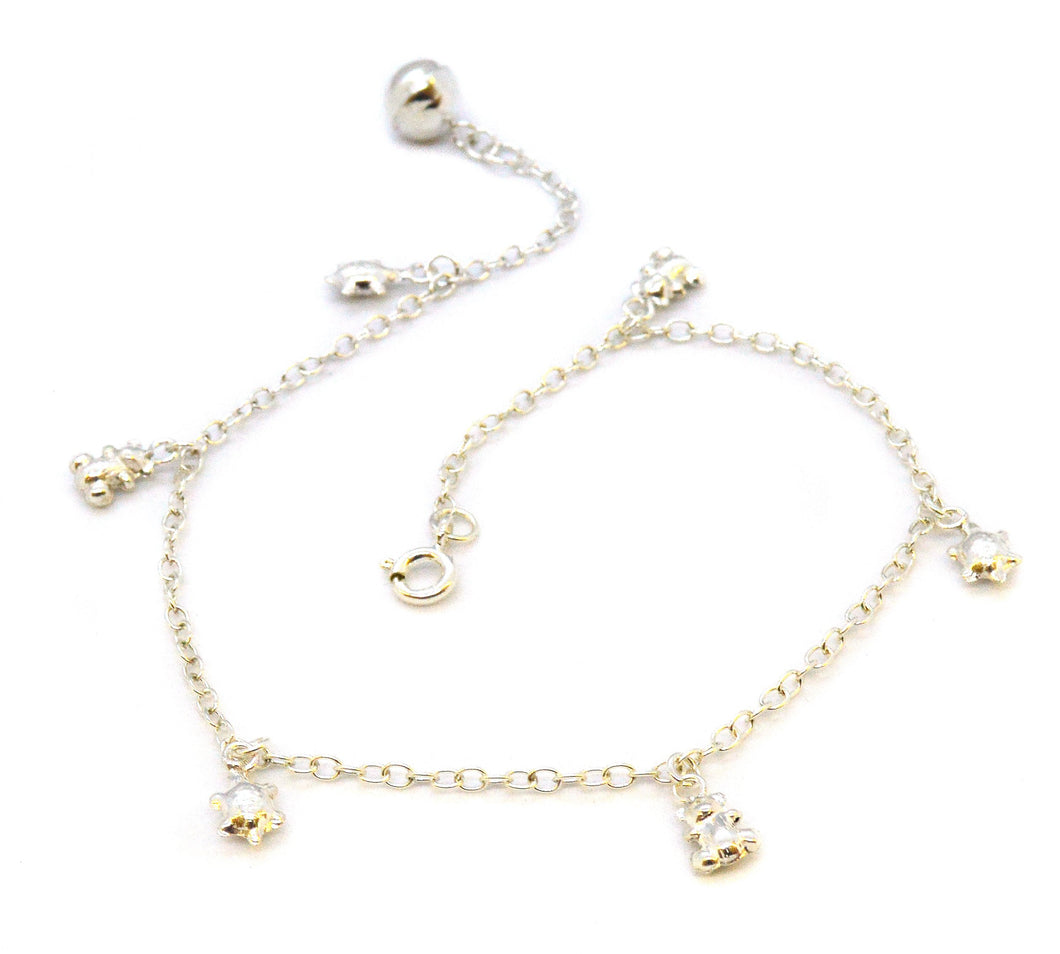 Sterling Silver Bear and Turtle Charm Anklet, 10