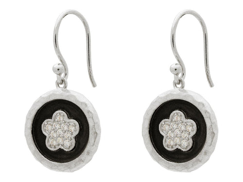 Flower Disc Hook Earrings CZ Sterling Silver