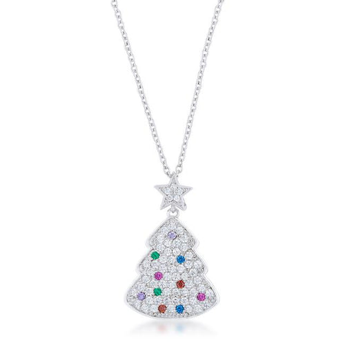 Christmas Tree Necklace Multicolor Rhodium Cubic Zirconia Silvertone