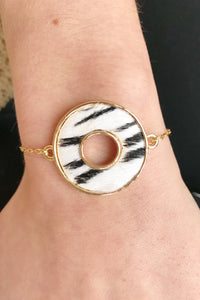 Zebra Animal Print Circle Slide Bracelet