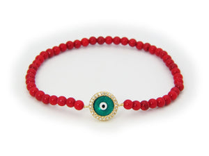 Evil Eye Bracelet with Red Coral Beads, Elastic