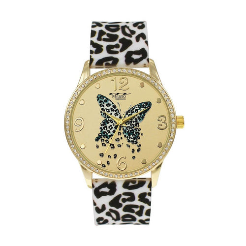 Leopard Strap Watch With Butterfly Dial