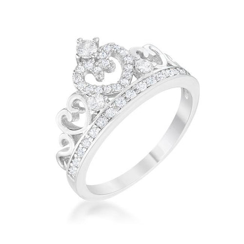 Heart Crown Ring Aurora CZ Rhodium