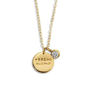 """Rescue Mama"" Necklace Small 3/4"" Coin with Crystal"