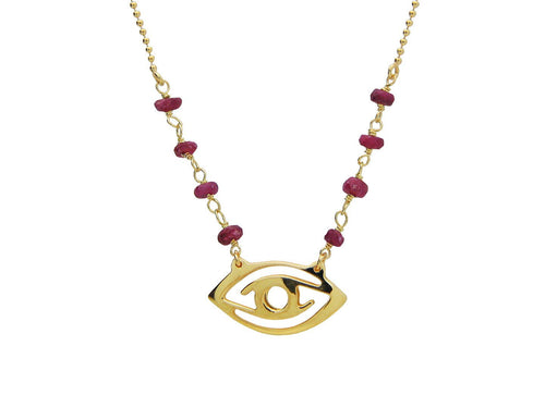 Evil Eye Pendant Necklace Goldtone with Ruby Red Stones