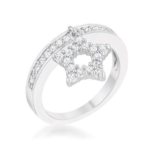 Star Holiday Charm Band Ring 0.25ct CZ Rhodium Silvertone