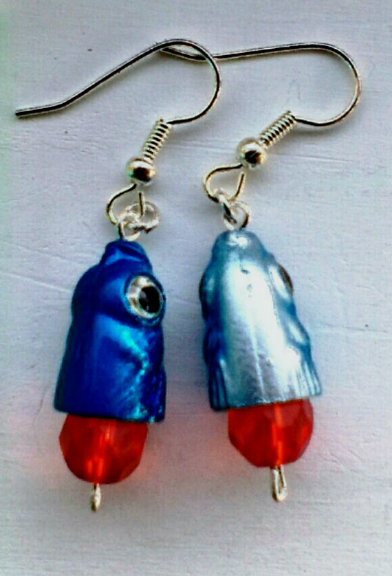 Blue Hammerhead Shark Earrings
