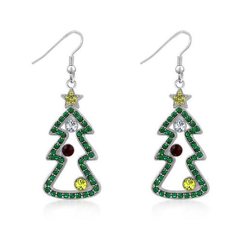 Christmas Tree Earrings - Cubic Zirconia Silvertone
