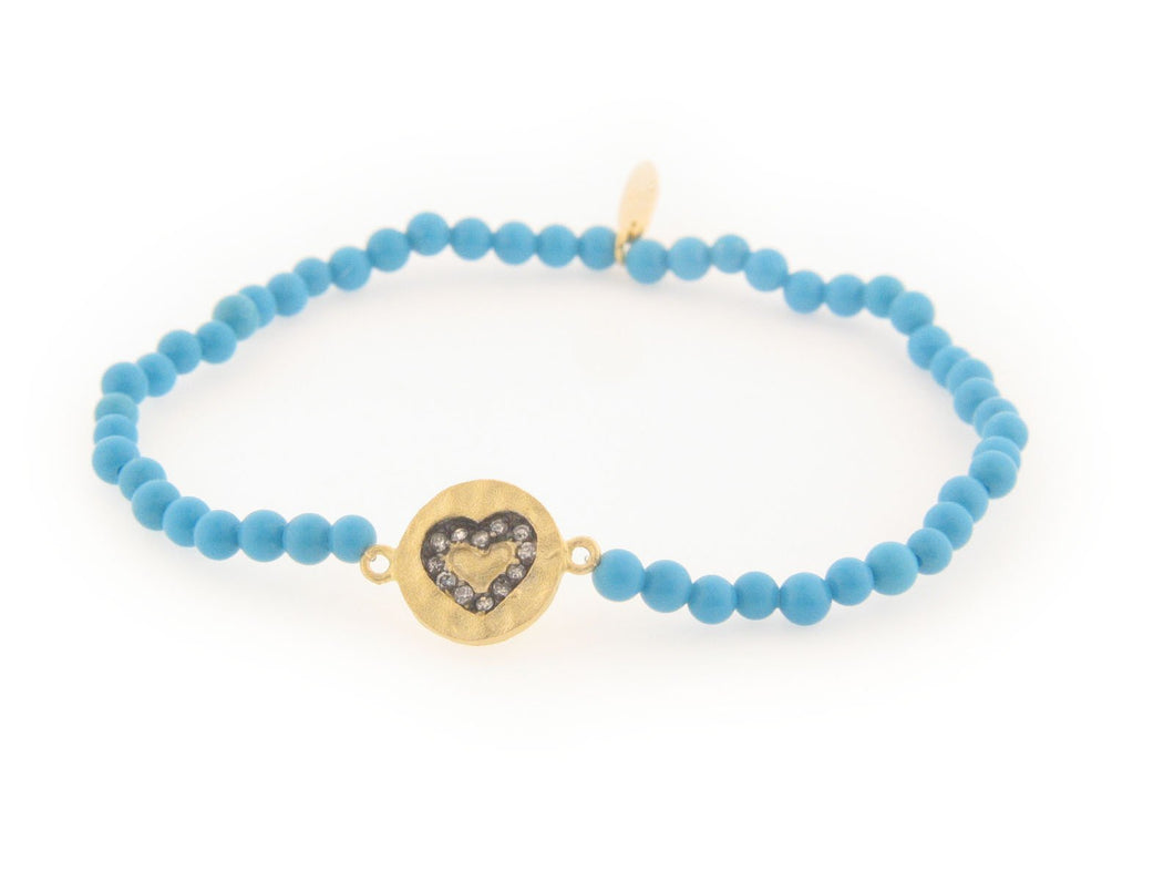 Hammered Heart Turquoise Stretch Bracelet