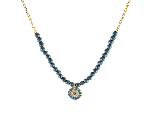 Evil Eye Necklace with Hematite Stones, 18kt Gold-Plated Sterling Silver
