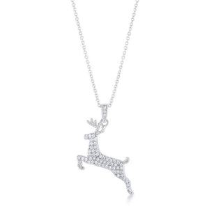 Reindeer Pave Holiday Pendant with Chain Cubic Zirconia Silvertone