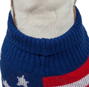 Patriot Independence Star Heavy Knitted Fashion Ribbed Turtle Neck Dog Sweater