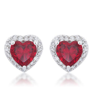 Ruby Red Heart Earrings Cubic Zirconia Silvertone