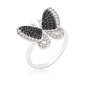 Butterfly Pave Ring, Silvertone with Black and White Cubic Zirconia