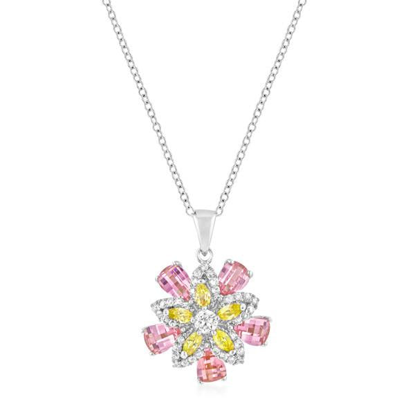 Multi-Floral Pendant with Chain Cubic Zirconia Silvertone