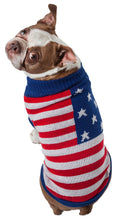 Load image into Gallery viewer, Patriot Independence Star Heavy Knitted Fashion Ribbed Turtle Neck Dog Sweater