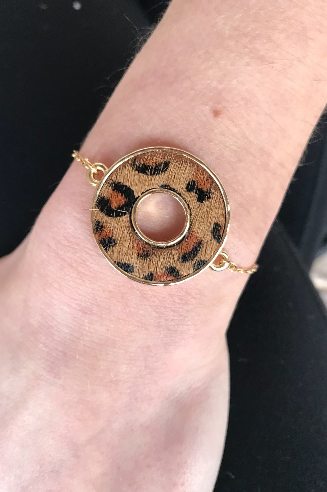 Leopard Animal Print Circle Slide Bracelet
