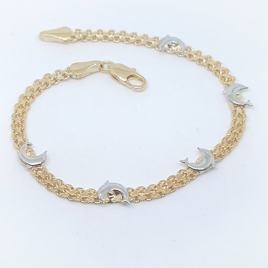 Dolphin Bracelet Gold Overlay Two Tone - 7-3/4